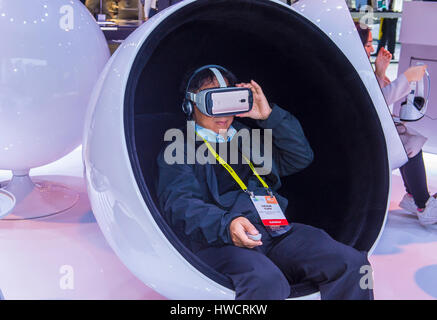 LAS VEGAS - JAN 08 : Virtual reality demonstration at The Huawei booth at the CES show in Las Vegas on January 08 - Stock Photo