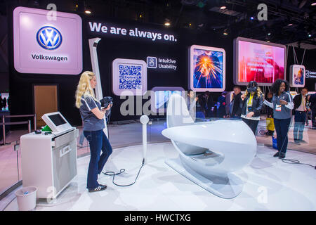 LAS VEGAS - JAN 08 : Virtual reality demonstration at the Volkswagen booth at the CES Show in Las Vegas, Navada, - Stock Photo