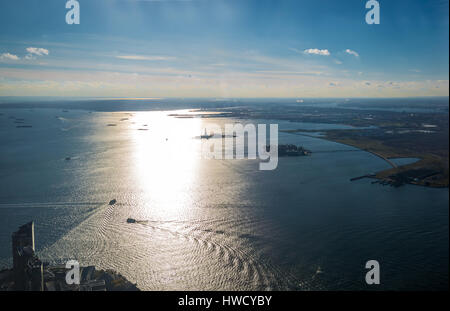 Aerial view of Upper New York Bay with Liberty Island and Liberty Statue - New York, USA - Stock Photo