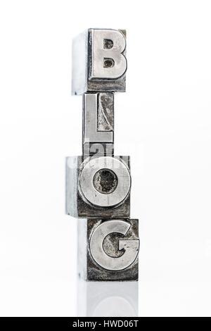 News - Blog - letters of lead, News - Blog - Bleibuchstaben - Stock Photo
