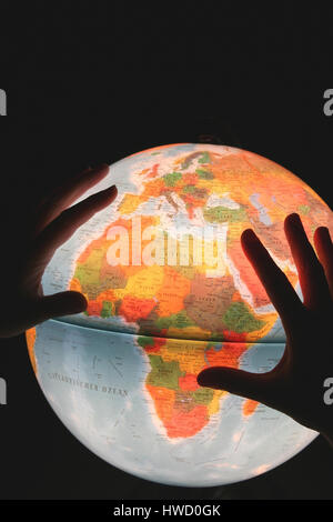 Globe and hands, things, object, objects, device, device, devices, globes, globe, globe, globes, Atlant, atlases, - Stock Photo