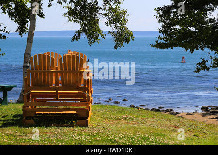 A View of The Saint Lawrence River from Camping Municipale de St-Siméon - Stock Photo