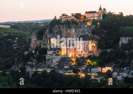 France, Lot, Rocamadour, view from l'Hospitalet - Stock Photo