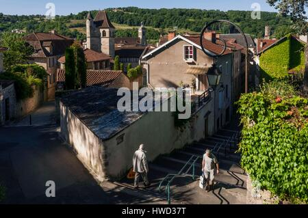 France, Lot, Figeac, view from church of Notre Dame du Puy - Stock Photo