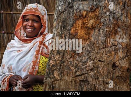 Tanzania, Zanzibar, Kizimbani, portrait of a young African girl in a village - Stock Photo