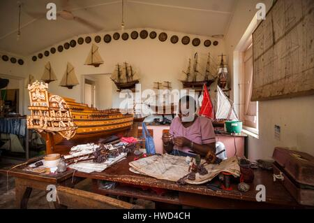 Seychelles, Mahe island, Le Cap, at the craft village, the expertise of La Marine's workshop of Jean-Louis MARCHESSEAU - Stock Photo