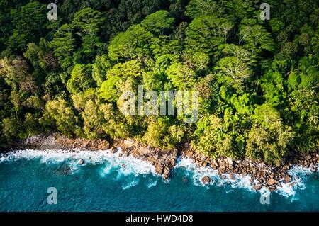 Seychelles, Mahe island, Port Launay (aerial view) - Stock Photo