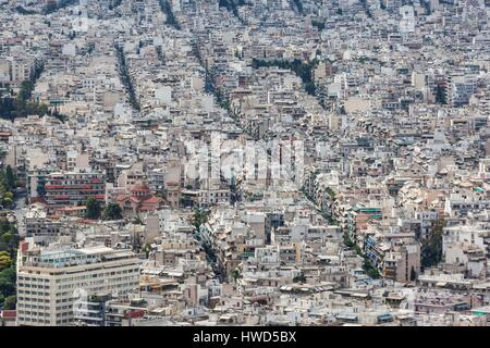 Greece, Central Greece Region, Athens, Lycabettus Hill, elevated view of Athens - Stock Photo