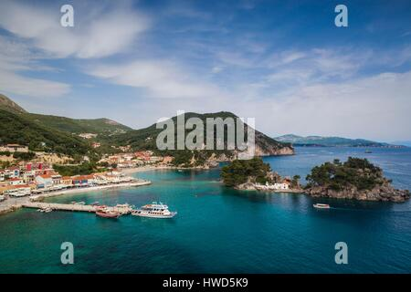 Greece, Epirus Region, Parga, elevated town view from the Venetian Castle - Stock Photo