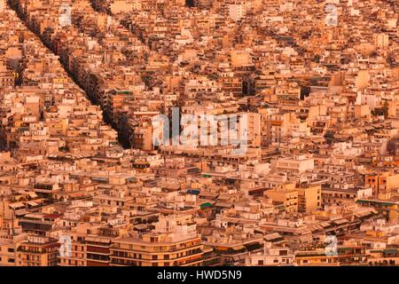 Greece, Central Greece Region, Athens, Lycabettus Hill, elevated city view, late afternoon - Stock Photo