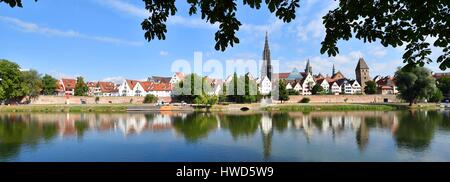 Germany, Bade Wurtemberg, Ulm, Albert Einstein' s birthplace, Danube river banks with city view, Lutheran Cathedral - Stock Photo