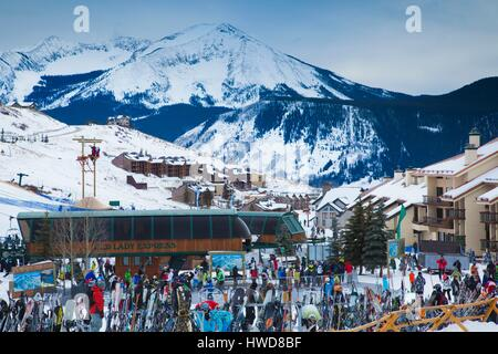 United States, Colorado, Crested Butte, Mount Crested Butte Ski Village, elevated view - Stock Photo