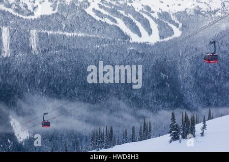 Canada, British Columbia, Whistler, Peak 2 Peak Gondola between Whistler and Blackcomb Mountains, winter - Stock Photo