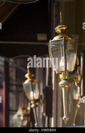 United States, Vermont, Woodstock, antique lamps - Stock Photo