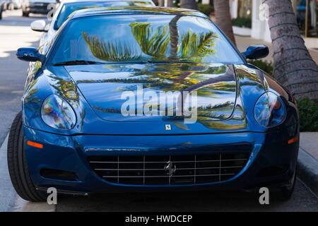 United States, Florida, Palm Beach, Worth Avenue, palm tree reflected in Ferrari sportscar - Stock Photo
