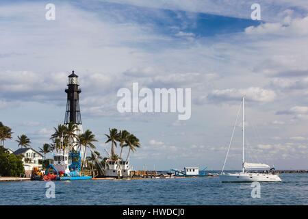 United States, Florida, Hillsboro Beach, Hillsboro Inlet Lighthouse - Stock Photo