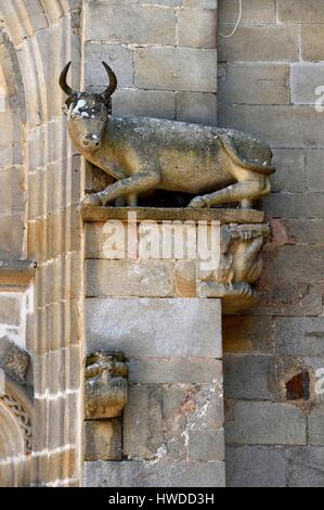 France, Morbihan, Malestroit medieval village, Saint Gilles church, Ox Sculpture at rest, attribute of St.Luc - Stock Photo