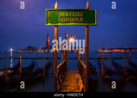 Gondolas at St. Marks Square in Venice, Italy - Stock Photo