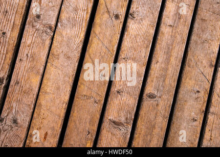 Weathered outdoor patio wooden flooring texture, hardwood planks background - Stock Photo