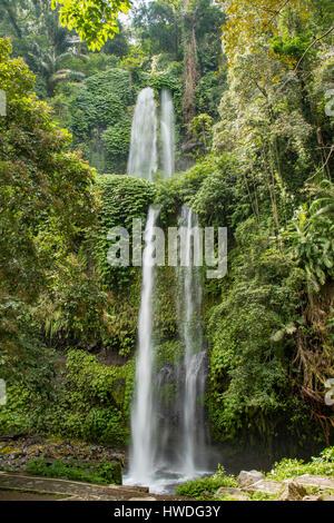 Sendang Gila Waterfall, Senaru, Lombok, Indonesia - Stock Photo