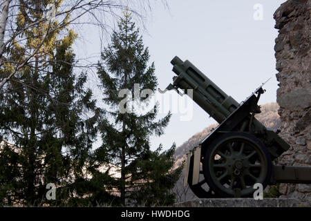 151_Exilles, Italy - March 2017_Cannon of the First World War to the fort of Exilles - Stock Photo