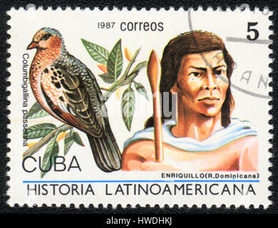 A postage stamp printed in Cuba  shows image of a   enriquillo (Dominicana) and columbigallina passerina, from series - Stock Photo