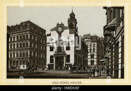 Antique 1883 monochromatic print from a souvenir album, showing the Old State House in Boston, Massachusetts. The - Stock Photo