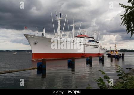 Kiel, Germany, Cap San Diego Museum ship in front of the lock of Kiel-Holtenau - Stock Photo