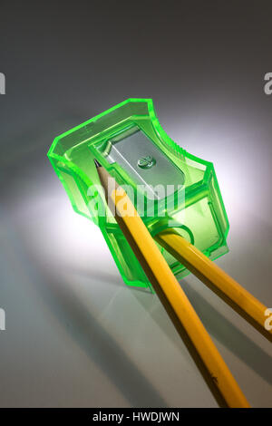 Still Life of Wooden Pencils and Sharpener - Stock Photo