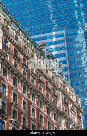 Contrasting Architecture, Times Square, NYC, USA - Stock Photo