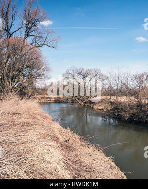 Odra river with trees around and blue sky near Studenka city in CHKO Poodri in Czech republic during nice early - Stock Photo