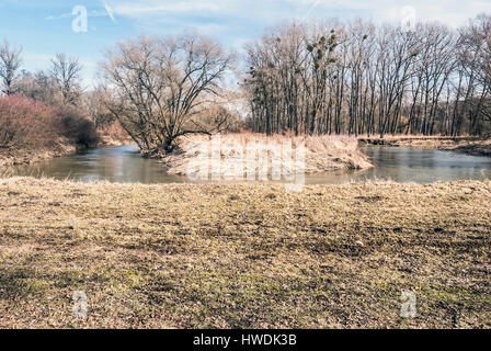 180° Odra rive meander near Studenka village in early spring CHKO Poodri in Czech republic - Stock Photo