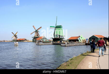 Panorama of Three Windmills at Zaanse Schans, Zaandam / Zaandijk, Netherlands: De Gekroonde Poelenburg, De Kat, - Stock Photo