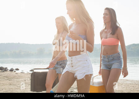 Group of friends enjoying beach party - Stock Photo
