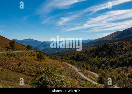 A winding scenic road in the Pyrenees in autumn - Stock Photo