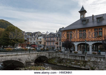 The commune of Arreau in France in the Pyrenees - Stock Photo