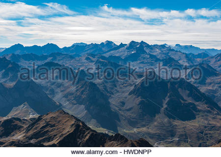 The Pyrenees as seen from Pic du Midi - Stock Photo