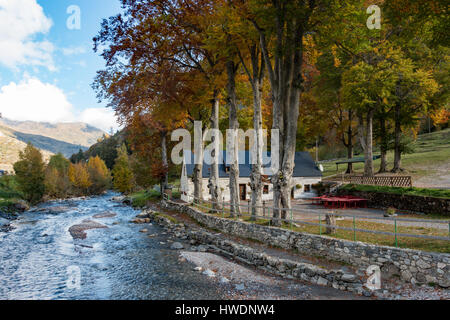 The La Bergerie Camping building by the Gave de Gavarnie in the Pyrenees in autumn