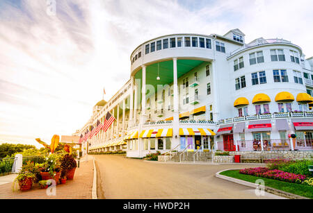 Mackinac Island, Michigan, August 8, 2016: Grand Hotel on Mackinac Island, Michigan. The hotel was built in 1887 - Stock Photo