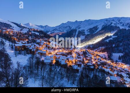 France, Savoie, Tarentaise valley, Meribel is one of the largest skiresort village in France, in the heart of Les - Stock Photo