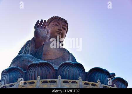 The enormous Tian Tan Buddha (Big Buddha) at Po Lin monastery, Hong Kong with copy space - Stock Photo