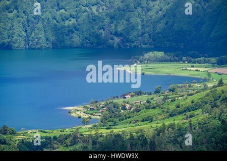 Portugal, Azores archipelago, Sao Miguel island, Sete Cidades, view from Vista do Rei viewpoint over Lagoa Azul - Stock Photo