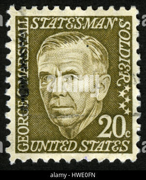 USA,circa 1973, post mark,stamp,portrait, US postage stamp, George.C.Marshall, Statesman Soldier - Stock Photo