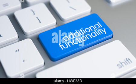Additional Functionality - Inscription on Blue Keyboard Key. 3D. - Stock Photo