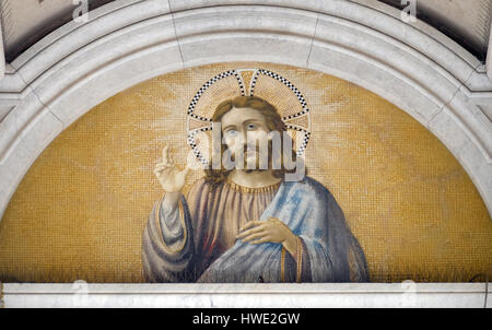 The icon with the image of Jesus Christ on a gold background in the basilica of Saint Paul Outside the Walls, Rome, - Stock Photo
