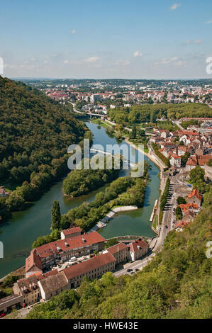 Looking down on the Doubs river from the ramparts of the Citadel fort Besancon France - Stock Photo