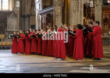 St Paul's School choir from Concrod, New Hampshire performing a recital in Bristol Cathedral, UK. - Stock Photo