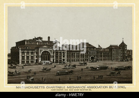Antique 1883 monochromatic print from a souvenir album, showing the Mechanics Hall in Boston, Massachusetts. Mechanics - Stock Photo