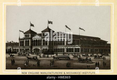 Antique 1883 monochromatic print from a souvenir album, showing the New England Manufacturers' & Mechanics' Institute - Stock Photo