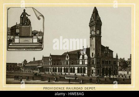 Antique 1883 monochromatic print from a souvenir album, showing the Boston & Providence Depot in Boston, Massachusetts. - Stock Photo